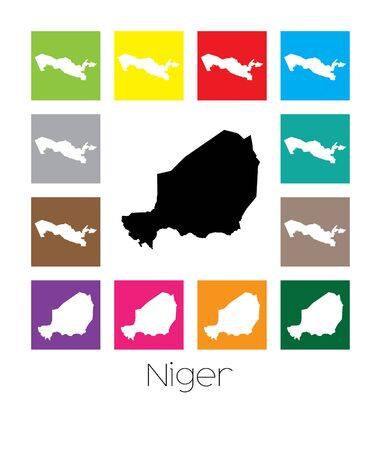 niger: Multicoloured Map  of the country of Niger