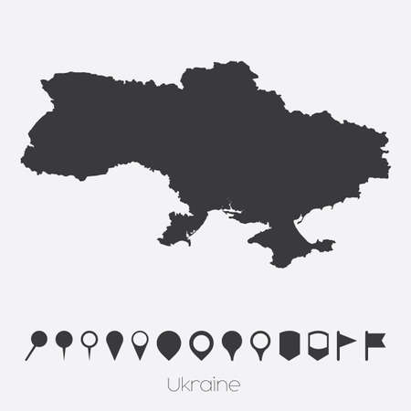 pointers: A Map with pointers of the country of Ukraine
