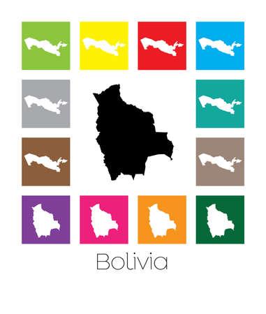 mapa de bolivia: Multicolor Mapa del pa�s de Bolivia Foto de archivo
