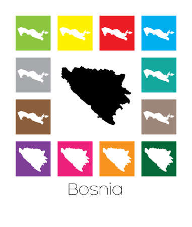 multicoloured: Multicoloured Map  of the country of Bosnia