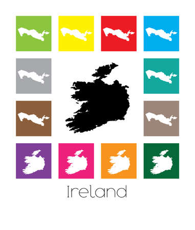 multicoloured: Multicoloured Map  of the country of Ireland