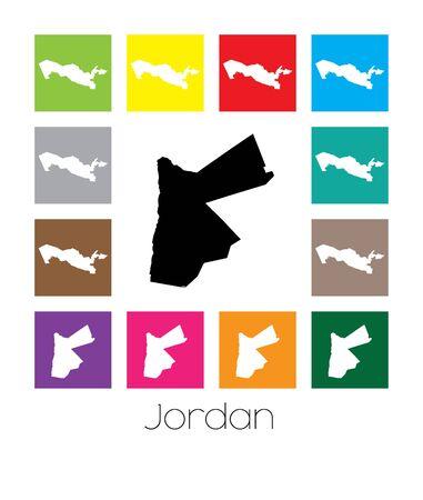 jordan: Multicoloured Map  of the country of Jordan Stock Photo