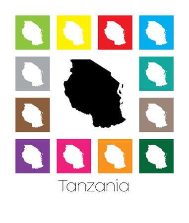 multicoloured: Multicoloured Map  of the country of Tanzania