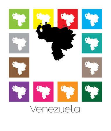 mapa de venezuela: Multicolor Mapa del país de Venezuela Foto de archivo