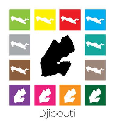 djibouti: Multicoloured Map  of the country of Djibouti