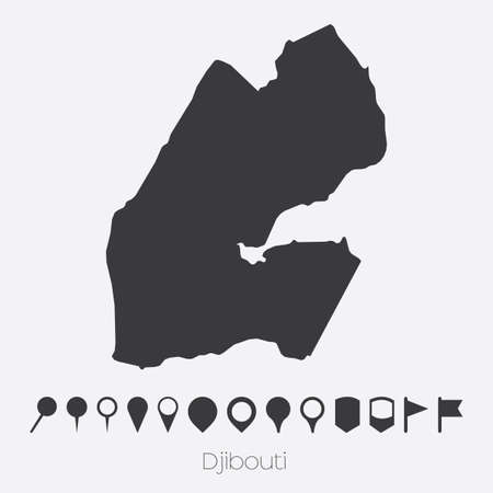 djibouti: A Map with pointers of the country of Djibouti