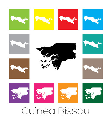 bissau: Multicoloured Map  of the country of Guinea Bissau