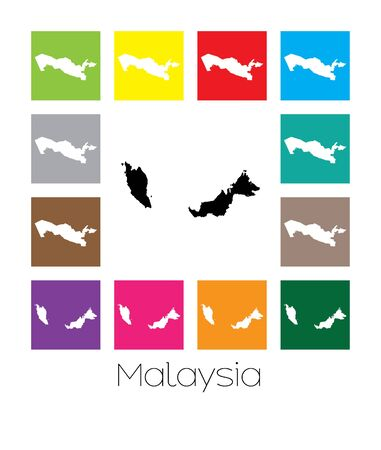 multicoloured: Multicoloured Map  of the country of Malaysia