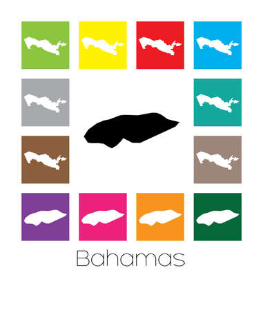 multicoloured: Multicoloured Map  of the country of Bahamas