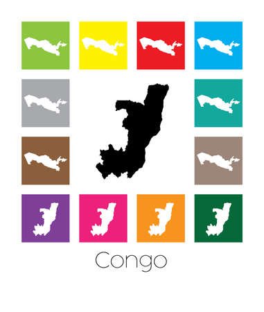 multicoloured: Multicoloured Map  of the country of Congo