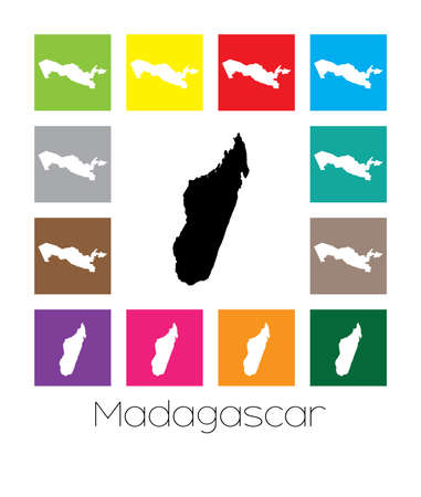 madagascar: Multicoloured Map  of the country of Madagascar