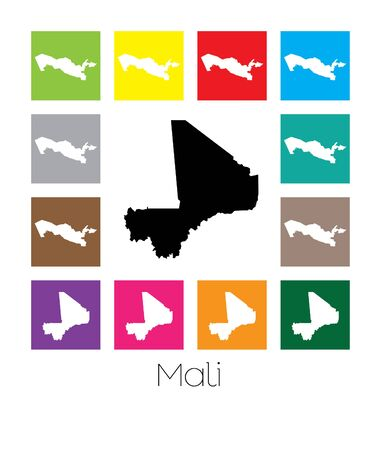 mali: Multicoloured Map  of the country of Mali