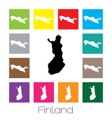multicoloured: Multicoloured Map  of the country of Finland