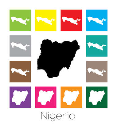 country nigeria: Multicoloured Map  of the country of Nigeria Stock Photo