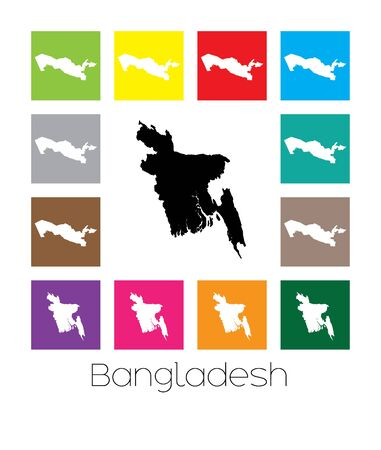 multicoloured: Multicoloured Map  of the country of Bangladesh Stock Photo