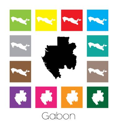 gabon: Multicoloured Map  of the country of Gabon