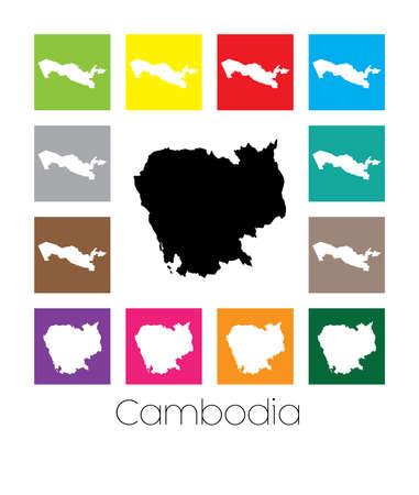 cambodia: Multicoloured Map  of the country of Cambodia Stock Photo