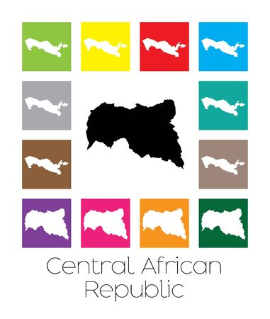 central african republic: Multicoloured Map  of the country of Central African Republic Stock Photo