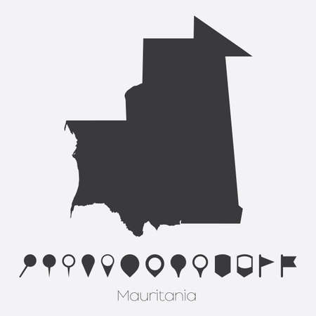 mauritania: A Map with pointers of the country of Mauritania Stock Photo