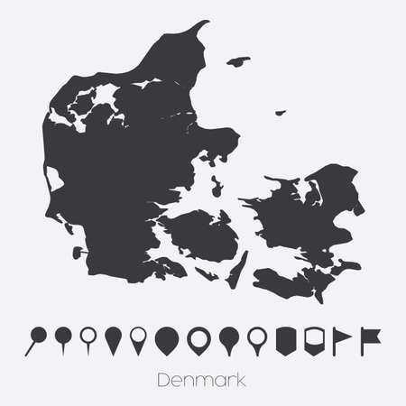 pointers: A Map with pointers of the country of Denmark Stock Photo