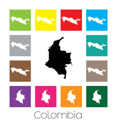 multicoloured: Multicoloured Map  of the country of Colombia Stock Photo