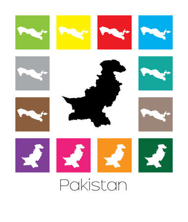 multicoloured: Multicoloured Map  of the country of Pakistan Stock Photo