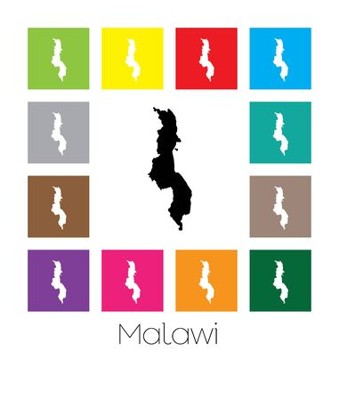 multicoloured: Multicoloured Map of the country of  Malawi