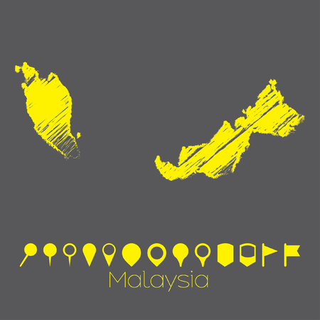map pointers: A Map of the country of Malaysia