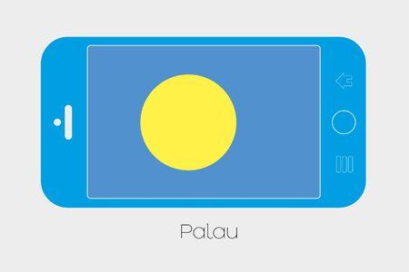 palau: Mobile Phone Illustration with the Flag of Palau Stock Photo