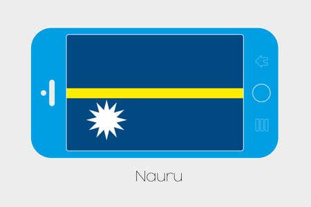 nauru: Mobile Phone Illustration with the Flag of Nauru Stock Photo