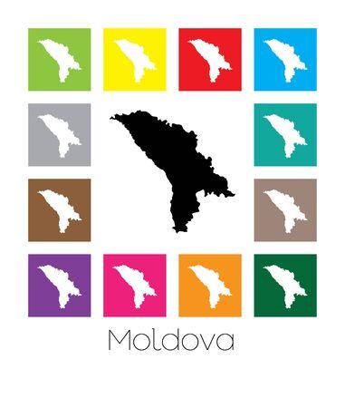 multicoloured: Multicoloured Map of the country of  Moldova Stock Photo