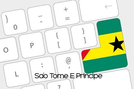 principe: Ilustración de un teclado con la tecla Enter siendo la Bandera de Santo Tomé y Príncipe