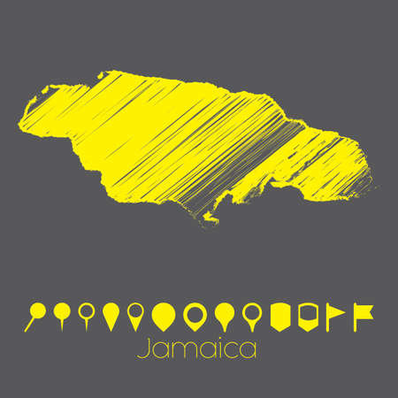 jamaica: A Map of the country of Jamaica