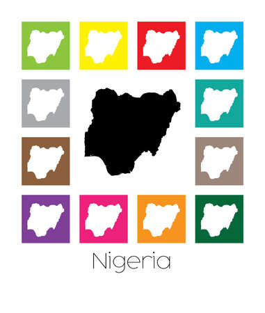 country nigeria: Multicoloured Map of the country of  Nigeria