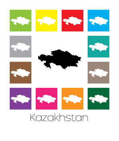 multicoloured: Multicoloured Map of the country of  Kazakhstan
