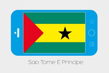 principe: Ilustración de teléfono móvil con la Bandera de Santo Tomé y Príncipe