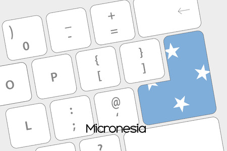micronesia: Illustration of a Keyboard with the Enter button being the Flag of Micronesia Stock Photo
