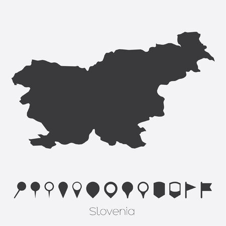 A Map with pointers of the country of Slovenia Stock Photo