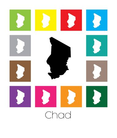 multicoloured: Multicoloured Map of the country of  Chad Stock Photo