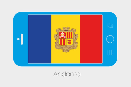 andorra: Mobile Phone Illustration with the Flag of Andorra Stock Photo