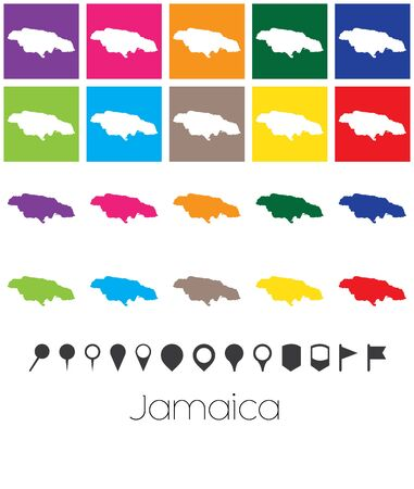 jamaica: Illustration of Multiple Colours with Pointers of the map of Jamaica Stock Photo