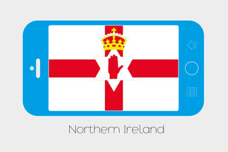 northern ireland: Mobile Phone Illustration with the Flag of Northern Ireland