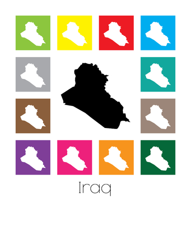 multicoloured: Multicoloured Map of the country of  Iraq Stock Photo