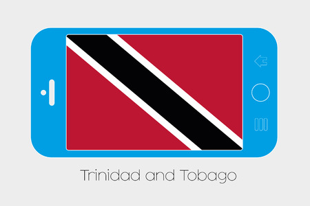 trinidad and tobago: Mobile Phone Illustration with the Flag of Trinidad and Tobago