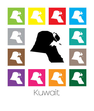multicoloured: Multicoloured Map of the country of  Kuwait