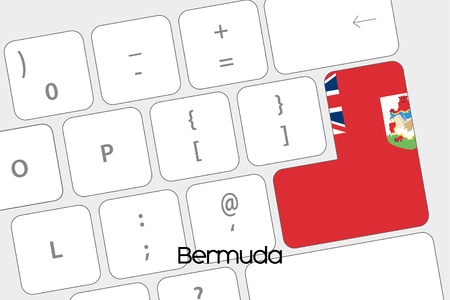 bermuda: Illustration of a Keyboard with the Enter button being the Flag of Bermuda Stock Photo