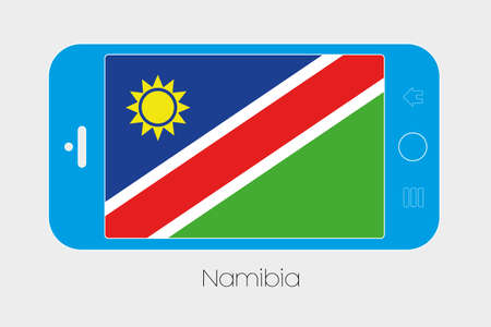 namibia: Mobile Phone Illustration with the Flag of Namibia