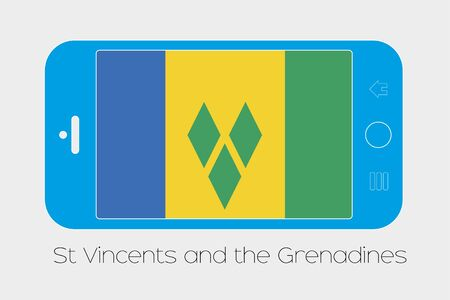 grenadines: Mobile Phone Illustration with the Flag of Saint Vincents and the Grenadines Stock Photo
