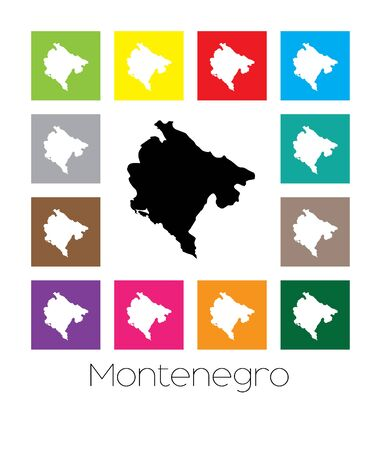 montenegro: Multicoloured Map of the country of  Montenegro