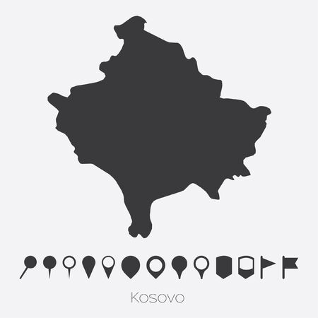 kosovo: A Map with pointers of the country of Kosovo